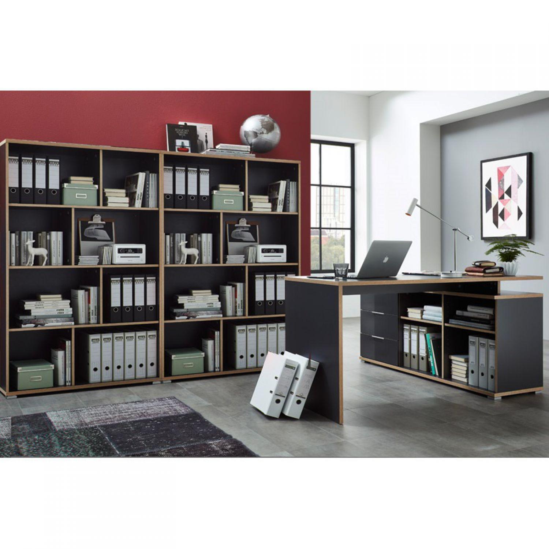 Büromöbel Set in anthrazit Schreibtisch mit Sideboard Aktenregal ...