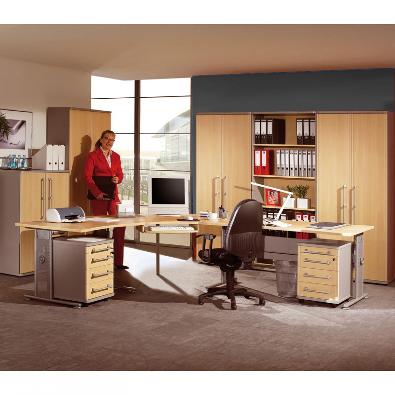 Komplett Büromöbel Set Ahorn Eckschreibtisch Aktenschrank ...