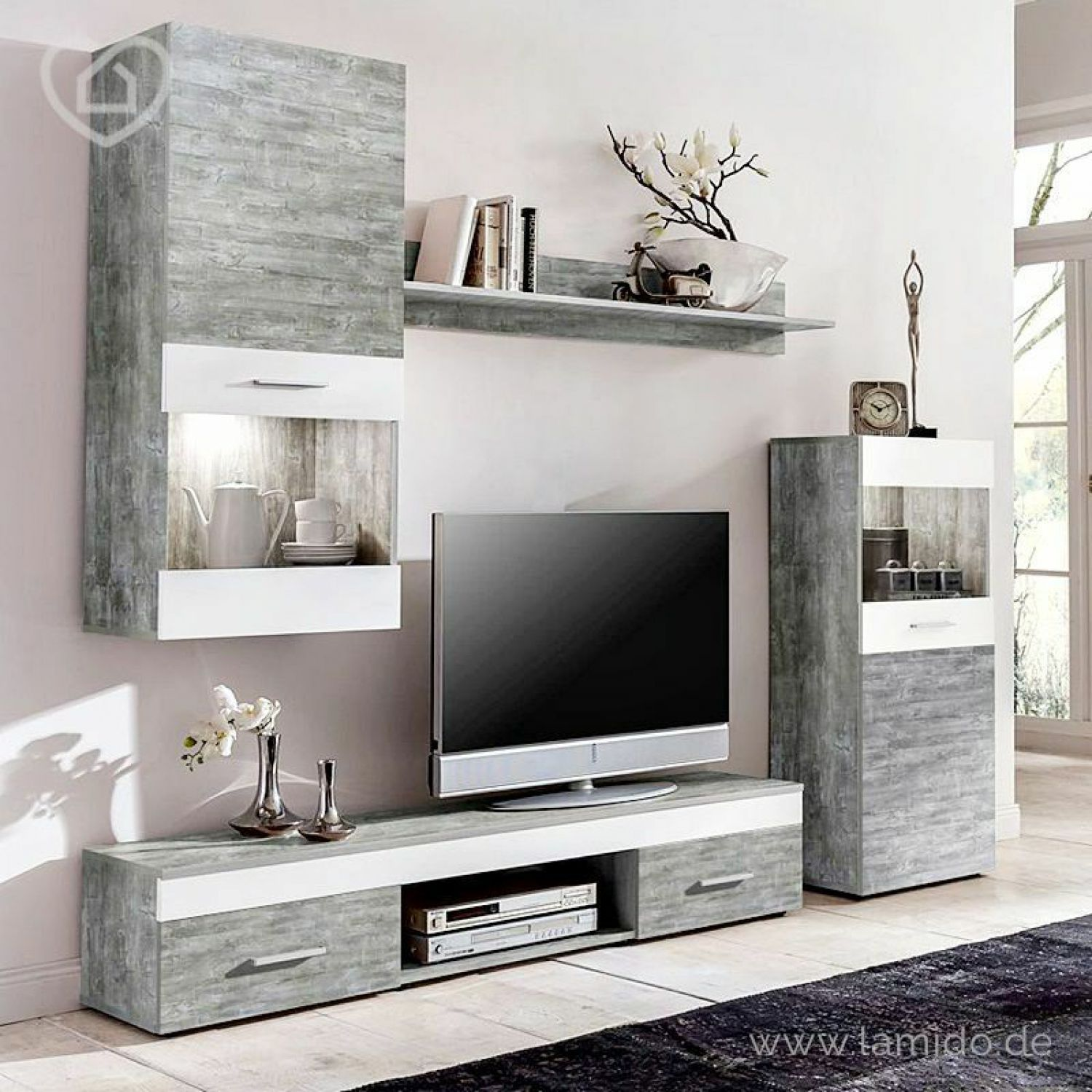 wohnwand beton wei anbauwand wohnzimmer tv fernsehschrank jugendzimmer vitrine ebay. Black Bedroom Furniture Sets. Home Design Ideas