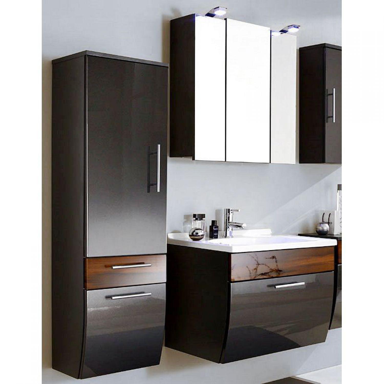 Komplett hochglanz badm bel set badezimmerm bel waschtisch led spiegelschrank ebay for Badmobel anthrazit hochglanz