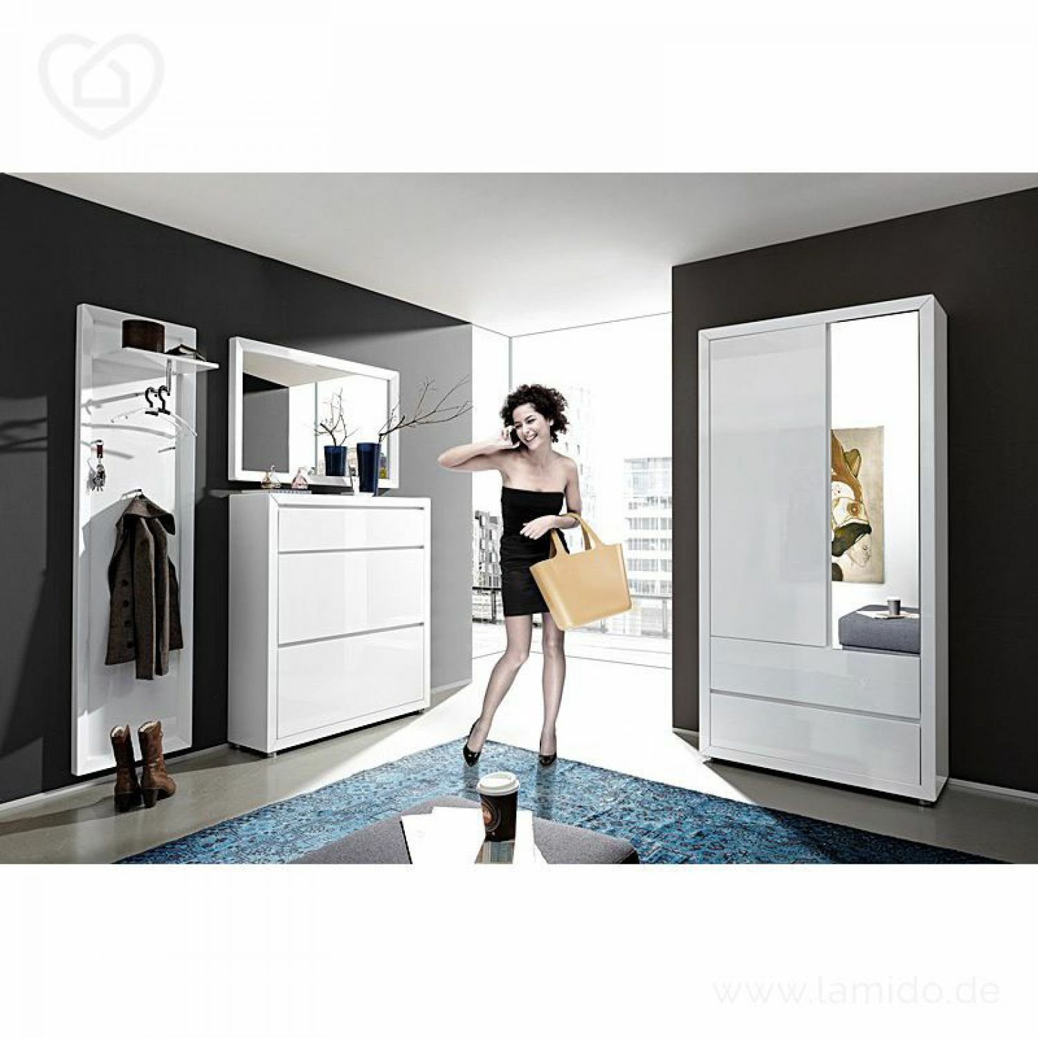 garderoben schuhschrank spiegel set lack hochglanz wei schuhkomode flurm bel ebay. Black Bedroom Furniture Sets. Home Design Ideas