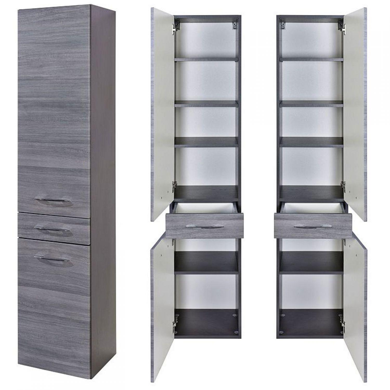 Komplett Badezimmermöbel Set Grau 100cm Waschtisch & LED