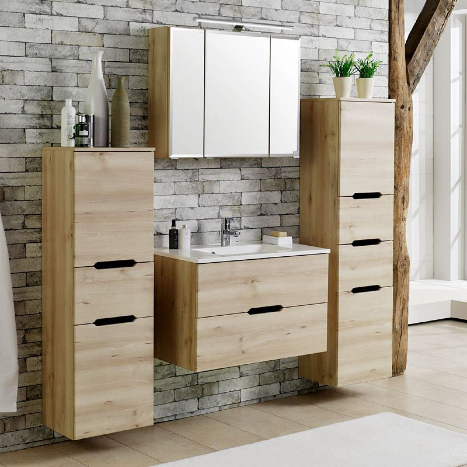 komplett badezimmer set buche badm bel 80cm waschtisch spiegelschrank waschplatz ebay. Black Bedroom Furniture Sets. Home Design Ideas