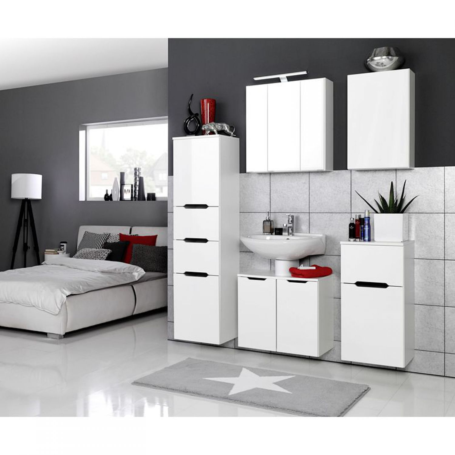 badezimmerm bel h ngeschrank hochglanz wei badm bel wandschrank badschrank. Black Bedroom Furniture Sets. Home Design Ideas