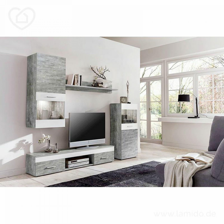 Wohnwand Beton weiß Anbauwand Wohnzimmer Fernsehschrank Vitrine TV ...