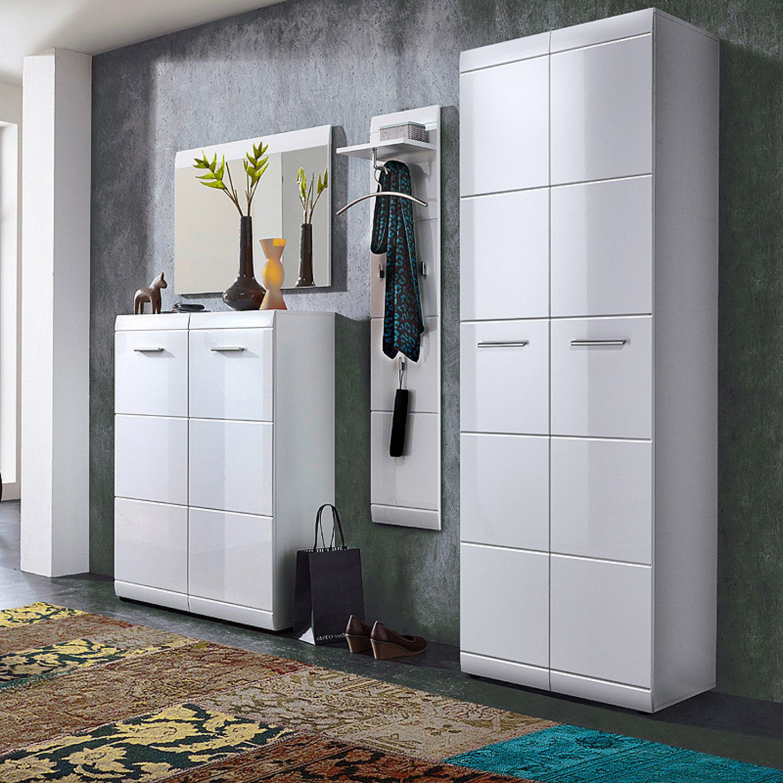 garderoben set hochglanz schuhschrank spiegel flurm bel. Black Bedroom Furniture Sets. Home Design Ideas