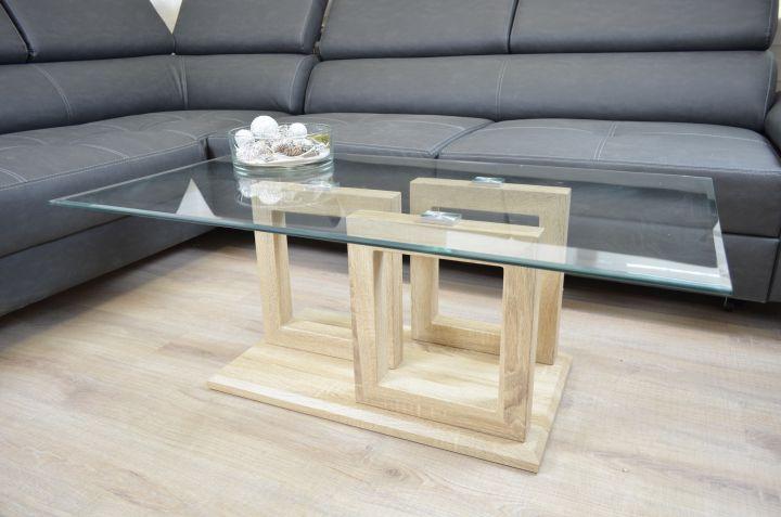 couchtisch sonoma eiche 115x65 cm glasplatte sofatisch beistelltisch klarglas ebay. Black Bedroom Furniture Sets. Home Design Ideas
