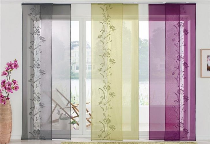 Schiebevorhänge schweiz  Schiebevorhang 2er Set lila Blumenmotiv Klettband Maße: (HxB ...