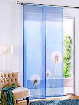 schiebevorhang klettband blau pusteblume transparent inkl zubeh r ma e 245x60 cm ebay. Black Bedroom Furniture Sets. Home Design Ideas