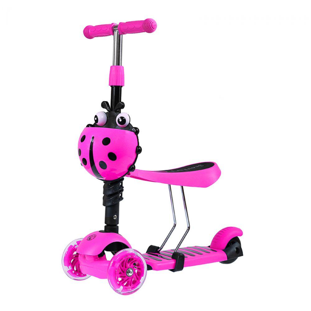 3 in 1 scooter mit sitz tretroller skateboard ladybird pink dreirad led roller 5907695517439 ebay. Black Bedroom Furniture Sets. Home Design Ideas