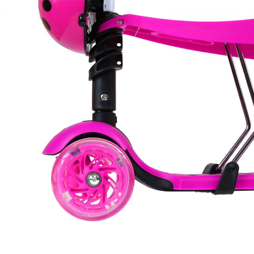 3 in 1 scooter mit sitz tretroller skateboard ladybird pink dreirad led roller ebay. Black Bedroom Furniture Sets. Home Design Ideas