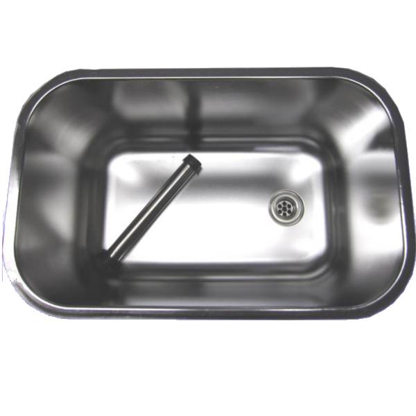 Spülbecken Gastrobecken aus CNS 50x30x30cm mit Standrohr  ~ Spülbecken Tief