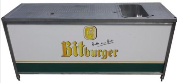 original bitburger theke aus edelstahl mit cns abdeckung und sp lbecken gebrauch ebay. Black Bedroom Furniture Sets. Home Design Ideas