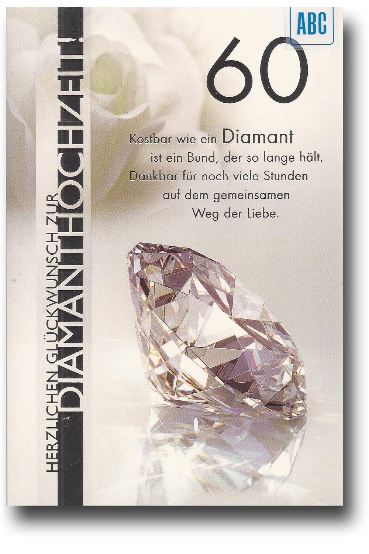 Glückwunschkarte Zur Diamantenen Hochzeit Herzlichen Glückwunsch Zur ...