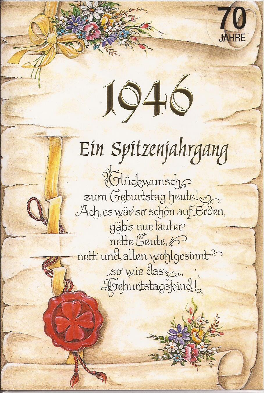 Geburtstagskarte Zum 70. Geburtstag   Ein Spitzenjahrgang 1946   BSB