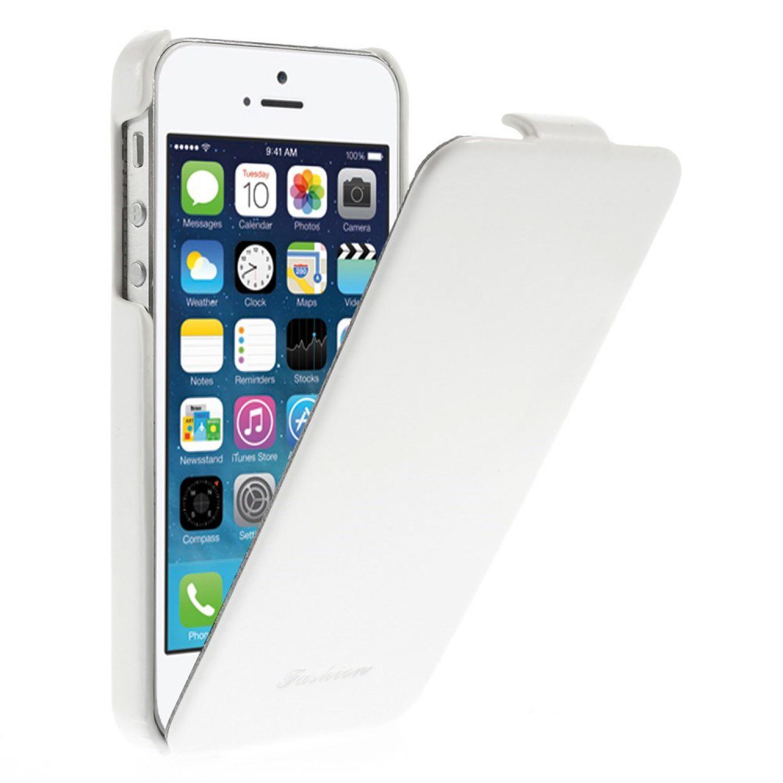 Iphone 5 5s echt leder flip case klapp h 252 lle backcover tasche