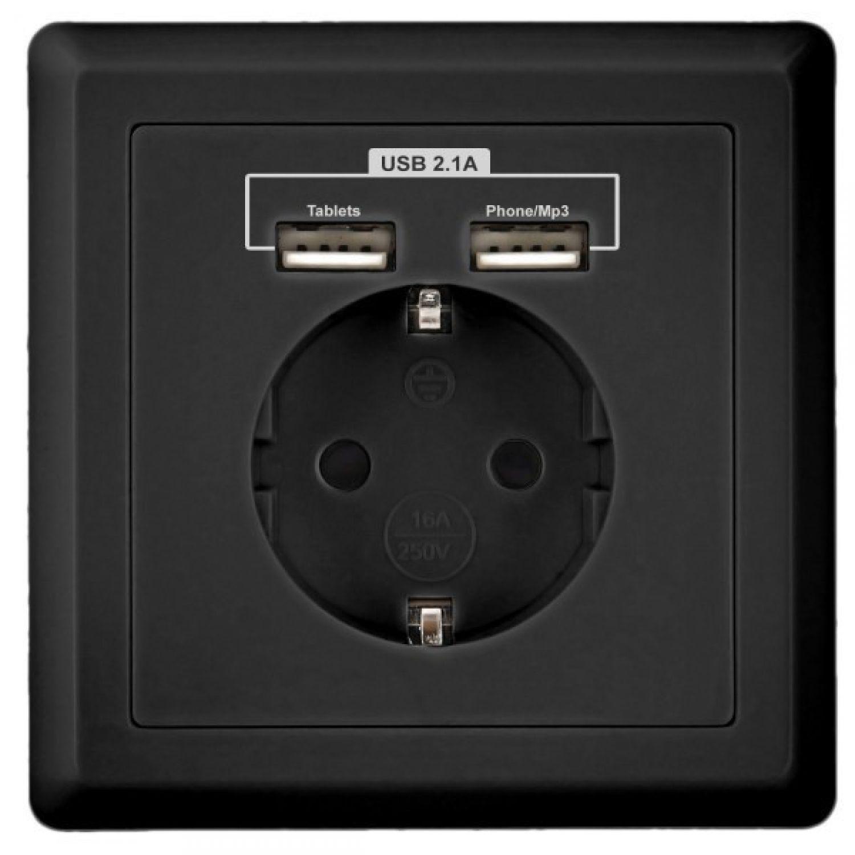 minadax schutzkontakt steckdose 230v 220v schwarz mit 2. Black Bedroom Furniture Sets. Home Design Ideas