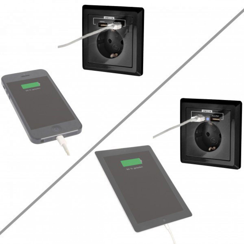 minadax schutzkontakt steckdose 230v 220v schwarz mit 2 x usb anschluss 4260307894917 ebay. Black Bedroom Furniture Sets. Home Design Ideas