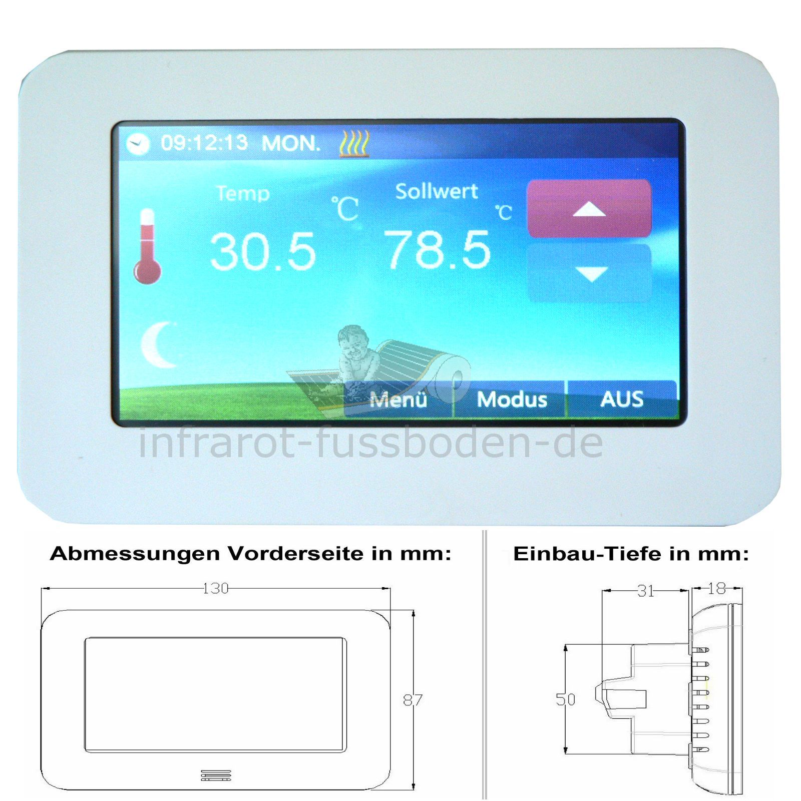 digital thermostat unterputz 4 3 touchscreen display. Black Bedroom Furniture Sets. Home Design Ideas
