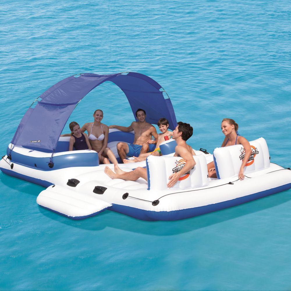 bestway xxl riesen lounge badeinsel pool liege luftmatratze boot mit dach 389 cm. Black Bedroom Furniture Sets. Home Design Ideas