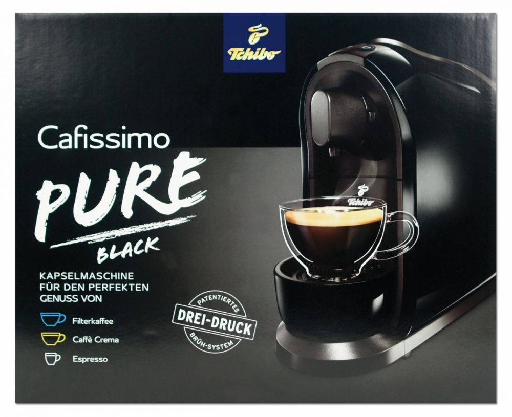 tchibo cafissimo pure kapselmaschine kaffemaschine espresso caff crema schwarz ebay. Black Bedroom Furniture Sets. Home Design Ideas
