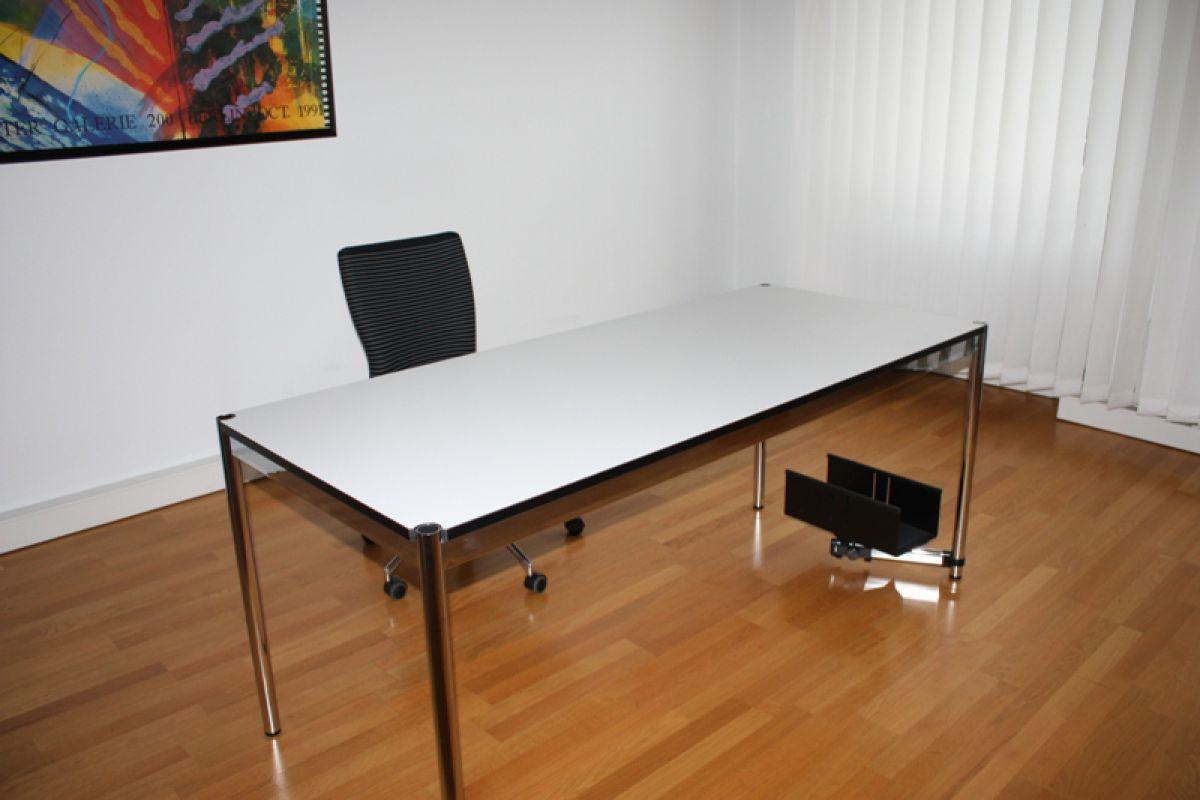 usm haller tisch schreibtisch 200x75 cm perlgrau wei arbeitsplatz top 2m 0 75m. Black Bedroom Furniture Sets. Home Design Ideas