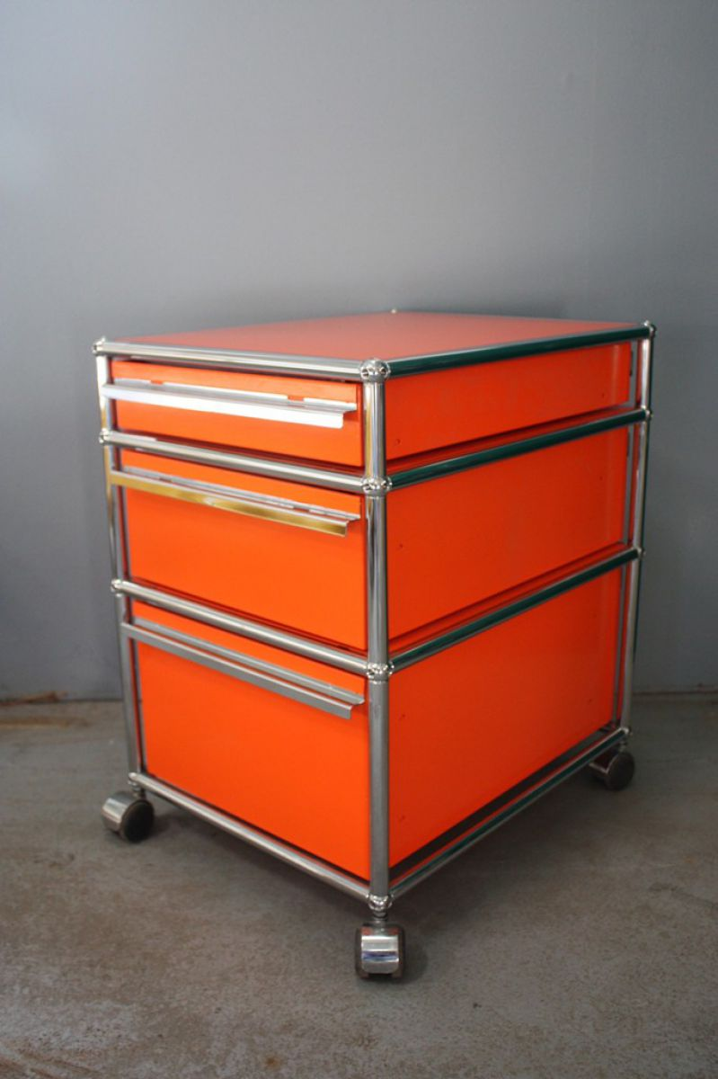 usm haller rollcontainer container orange 3 schubladen ablage regal rollen ebay. Black Bedroom Furniture Sets. Home Design Ideas