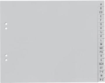 Register A-Z A4 halbe Höhe PP Ordnerregister Buchstabenregister grau ABC Plastik