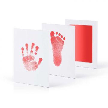 Babyhaut kommt nicht mit Farbe in Ber/ührung 2 Stempelkissen mit 4 hochwertigen Druckkarten Inkless Baby Fu/ß und Handabdruck Set von ENDUREAL Gro/ß Schwarz+Gro/ß Rosa mit Papier-Bilderrahmen