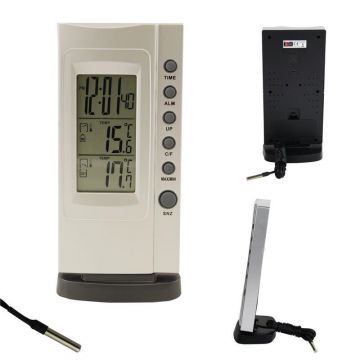digital innen thermometer min max au enf hler kabel f hler uhr wecker ebay. Black Bedroom Furniture Sets. Home Design Ideas