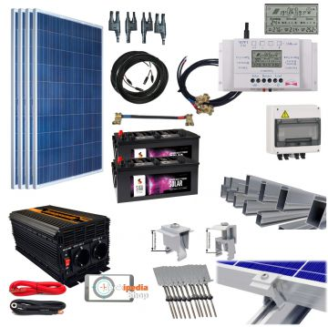 1kw 1000 watt insel solaranlage komplett set 24 volt f r flachdachmontage ebay. Black Bedroom Furniture Sets. Home Design Ideas