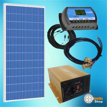 220 watt insel solaranlage 12 volt basis set 230 volt f r camping und garten ebay. Black Bedroom Furniture Sets. Home Design Ideas