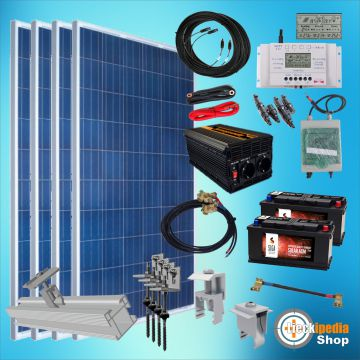 1000 watt insel solaranlage 24v photovoltaik komplett set mit flachdachmontage. Black Bedroom Furniture Sets. Home Design Ideas