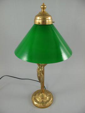 Amazing G1058: Jugendstil Tischlampe, Messing Lampe, Grüner Schirm,  Schreibtischlampe