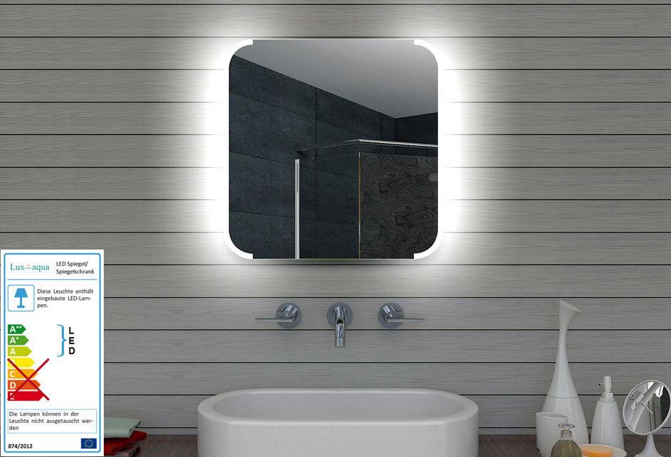 spiegel wand badezimmer badspiegel beleuchtet beleuchtung mit led licht 60x60cm ebay. Black Bedroom Furniture Sets. Home Design Ideas