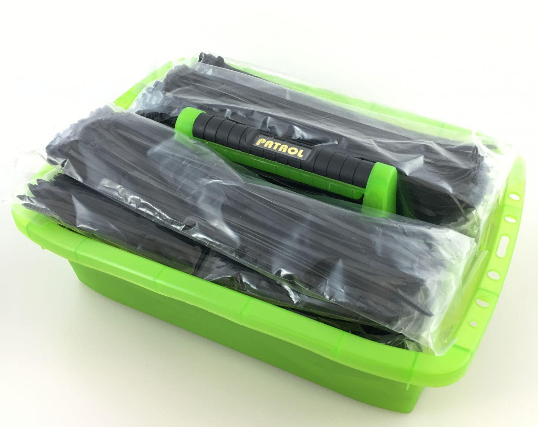 Kabelbinder 500 Stück 290x4,8mm schwarz mit Werkzeugträger ...