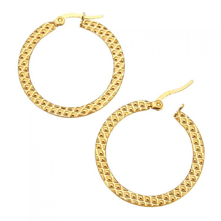 Oval Poliert Creolen Edelstahl Goldfarben Damen Ohrringe