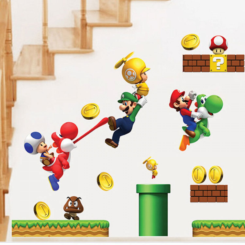 Super Mario World 3D Wandsticker Wandtattoo Dino Aufkleber ...