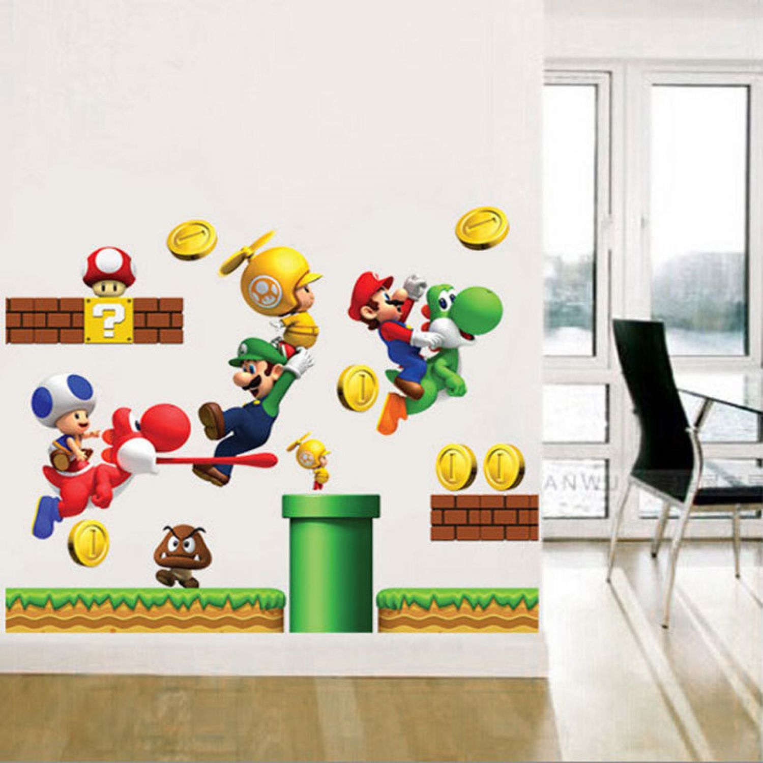 super mario world 3d wandsticker wandtattoo dino aufkleber kinderzimmer sticker ebay. Black Bedroom Furniture Sets. Home Design Ideas