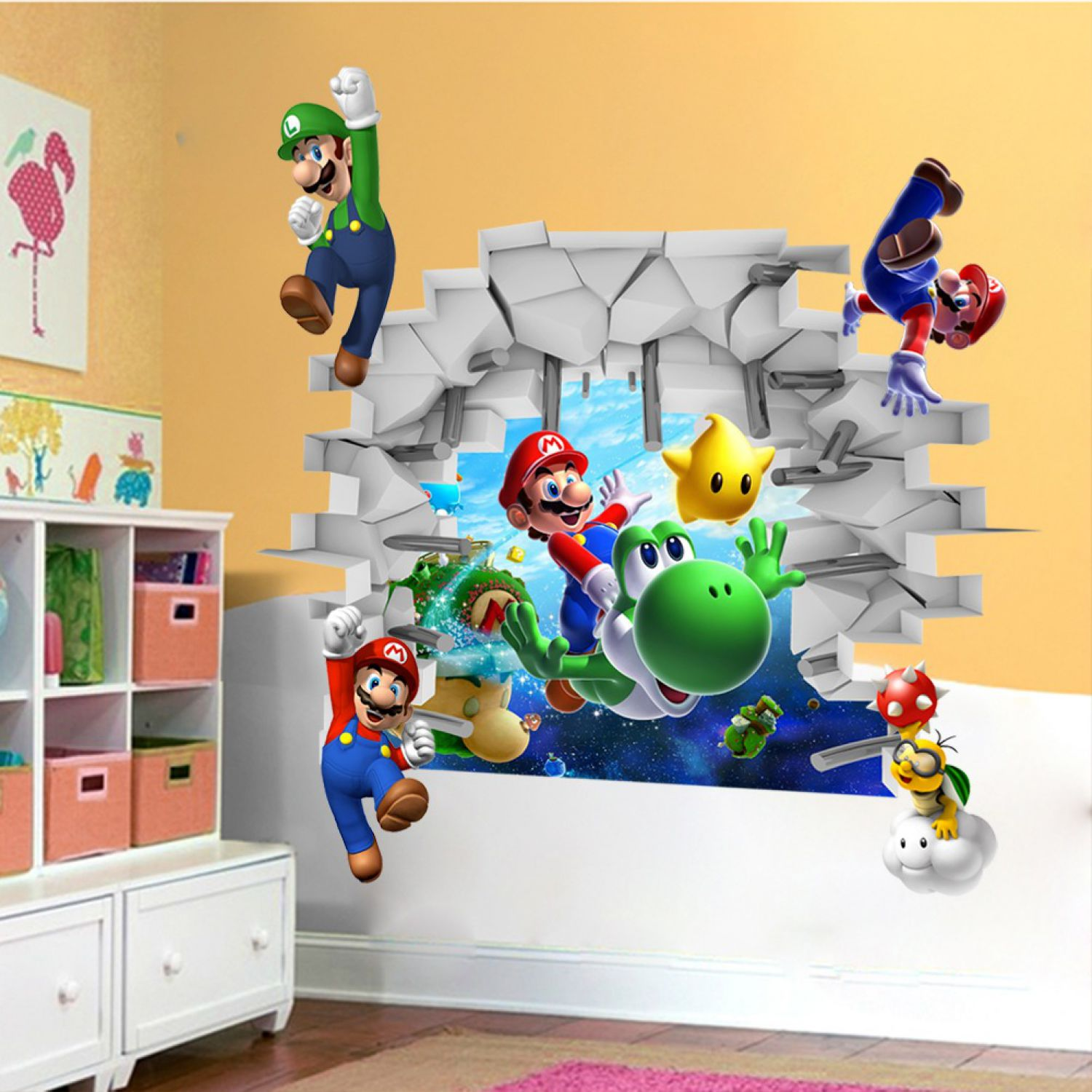 super mario world 3d wandsticker wandtattoo yoshi aufkleber kinderzimmer sticker ebay. Black Bedroom Furniture Sets. Home Design Ideas