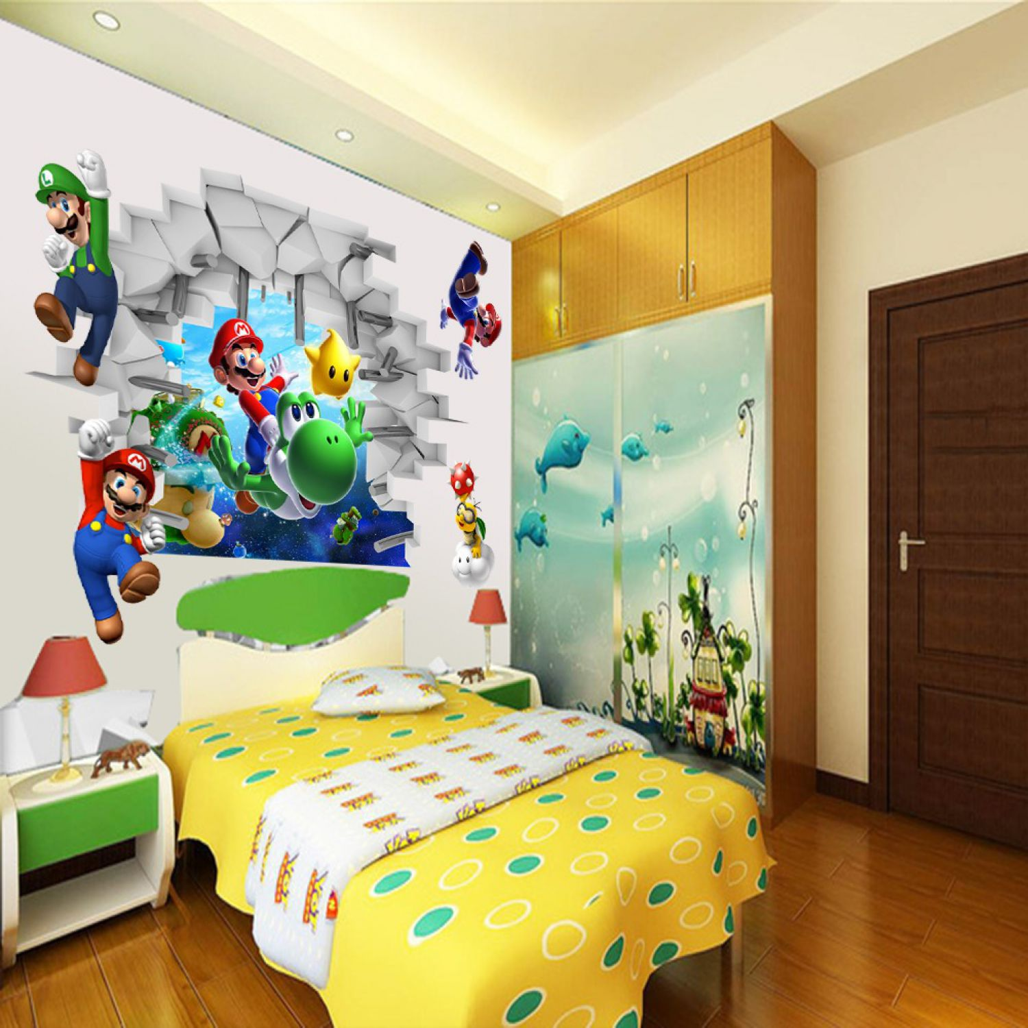 super mario world 3d wandsticker wandtattoo yoshi. Black Bedroom Furniture Sets. Home Design Ideas