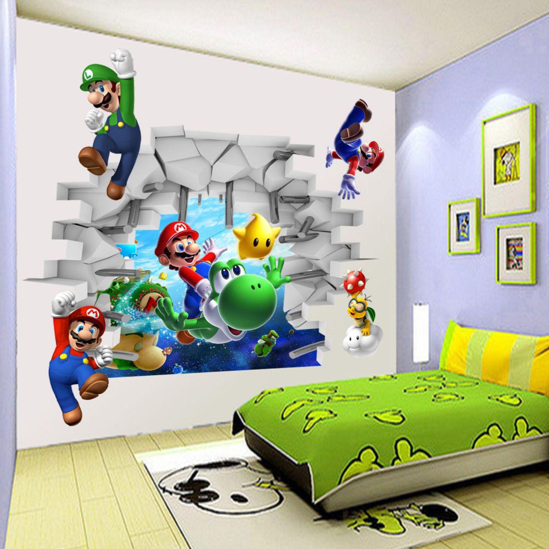 super mario world 3d wandsticker wandtattoo yoshi aufkleber kinderzimmer sticker ebay. Black Bedroom Furniture Sets. Home Design Ideas