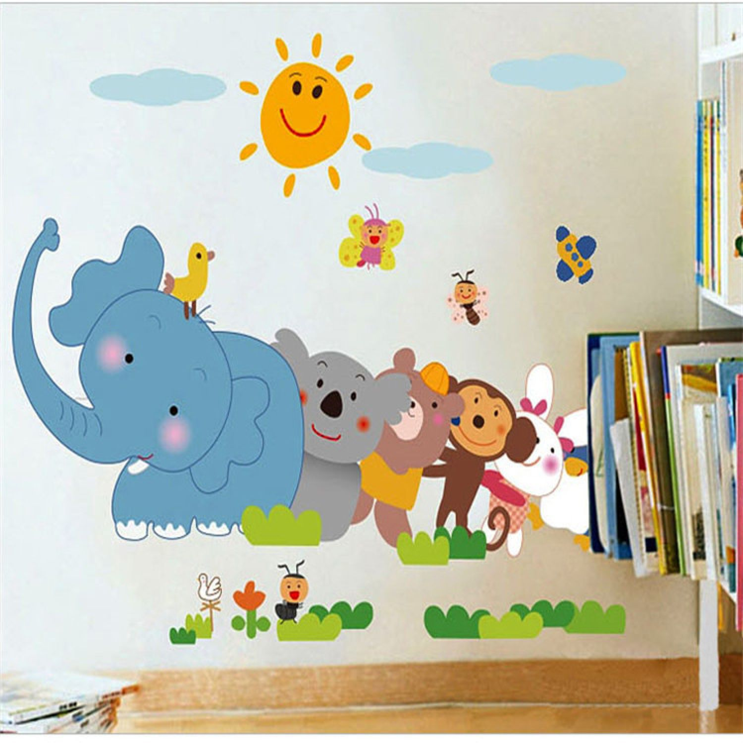 kinder wandsticker tiere affe wandtattoo wandaufkleber kinderzimmer elefant ebay. Black Bedroom Furniture Sets. Home Design Ideas