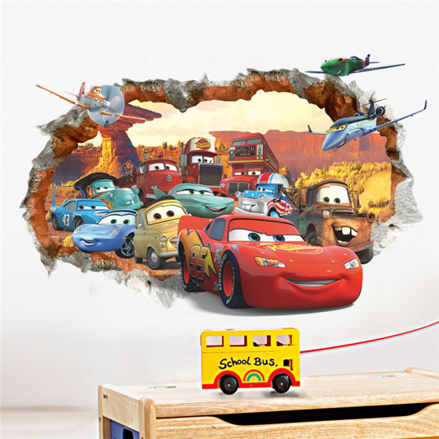 Cartoon Cars 3D Wandsticker Wandtattoo Aufkleber Wandaufkleber ...