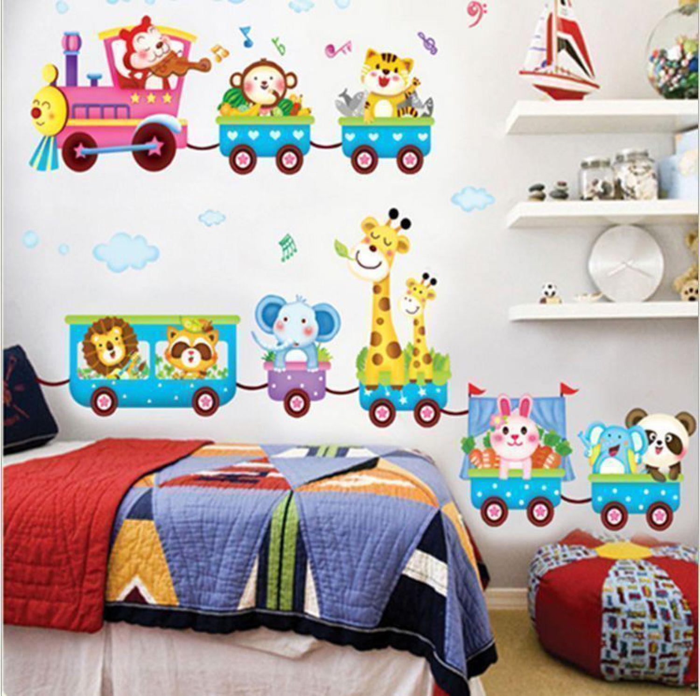 Deko tier zug giraffe l we elefant wandsticker wandtattoo for Bildmotive wohnzimmer