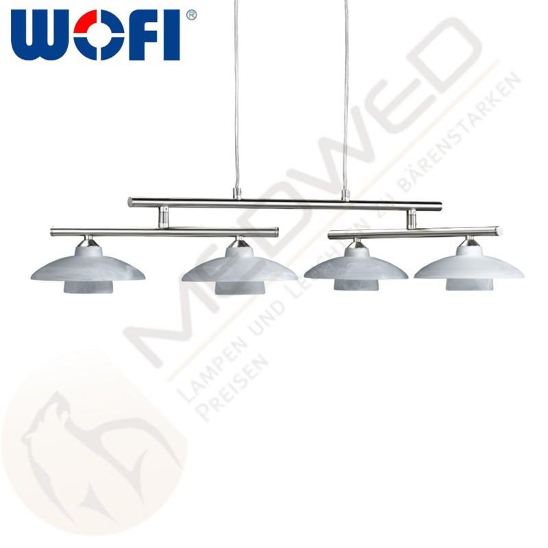 h ngelampe lampe wofi santa fee 4 flammig nickel leuchte ebay. Black Bedroom Furniture Sets. Home Design Ideas