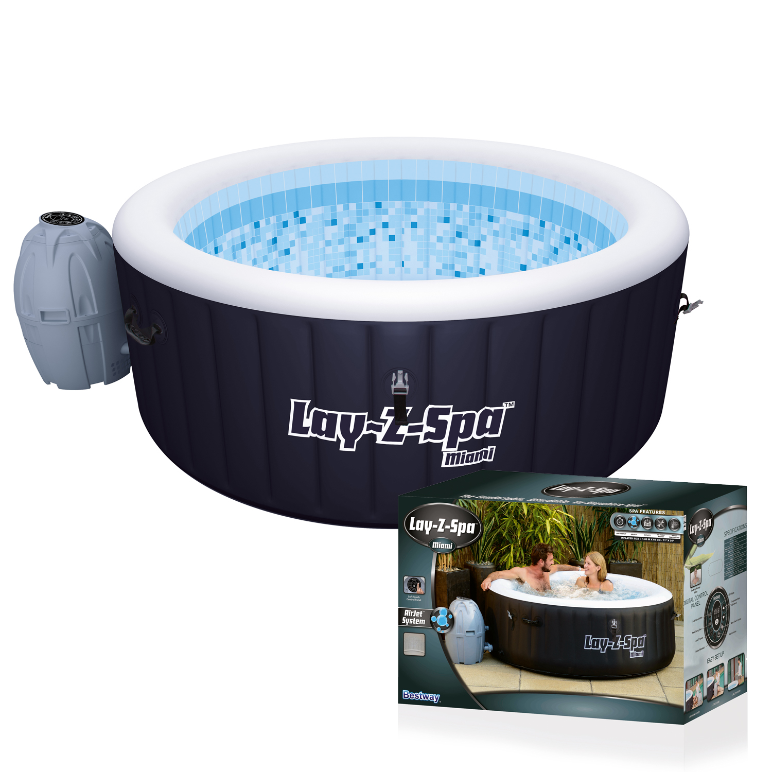 bestway 54123 whirlpool outdoor pool jacuzzi lazy spa badewanne wellness luxus ebay. Black Bedroom Furniture Sets. Home Design Ideas