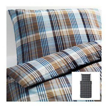 ikea bettw sche set benzy kariert blau 140x200 80x80cm kopfkissen bettbezug ebay. Black Bedroom Furniture Sets. Home Design Ideas