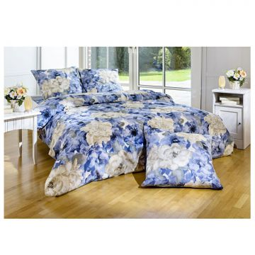 bettw sche bettgarnitur bl ten blau 200x200 2 kopfkissen 65x65cm 100 baumwolle ebay. Black Bedroom Furniture Sets. Home Design Ideas