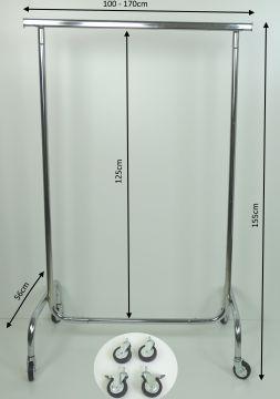 metall kleiderst nder 100 170cm garderobe kleiderstange 80mm rollen rollst nder. Black Bedroom Furniture Sets. Home Design Ideas